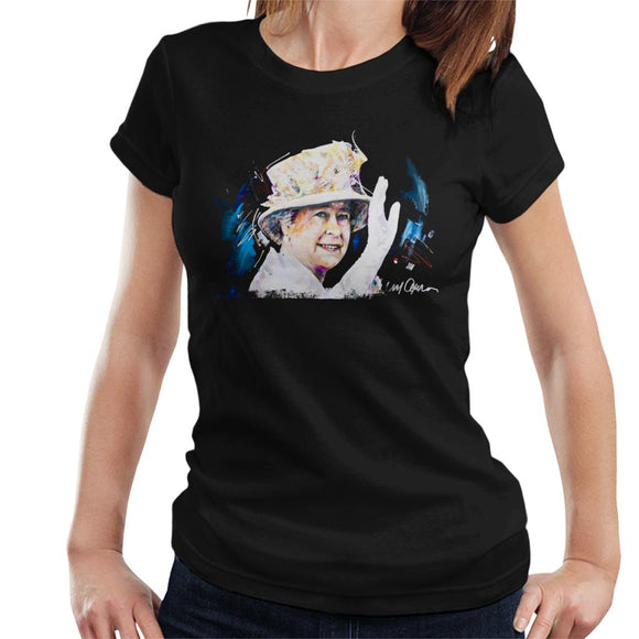 Sidney Maurer Original Portrait Of Queen Elizabeth Floral Hat Women's T-Shirt
