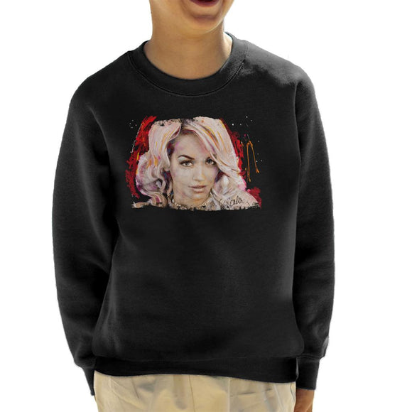 Sidney Maurer Original Portrait Of Rita Ora Pink Hair Kid's Sweatshirt