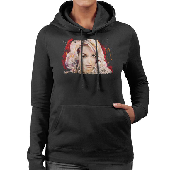 Sidney Maurer Original Portrait Of Rita Ora Pink Hair Women's Hooded Sweatshirt