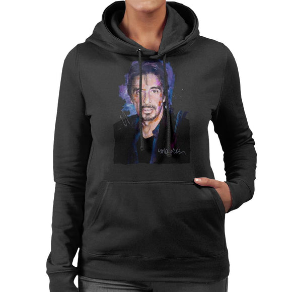 Sidney Maurer Original Portrait Of Al Pacino Goatee Women's Hooded Sweatshirt
