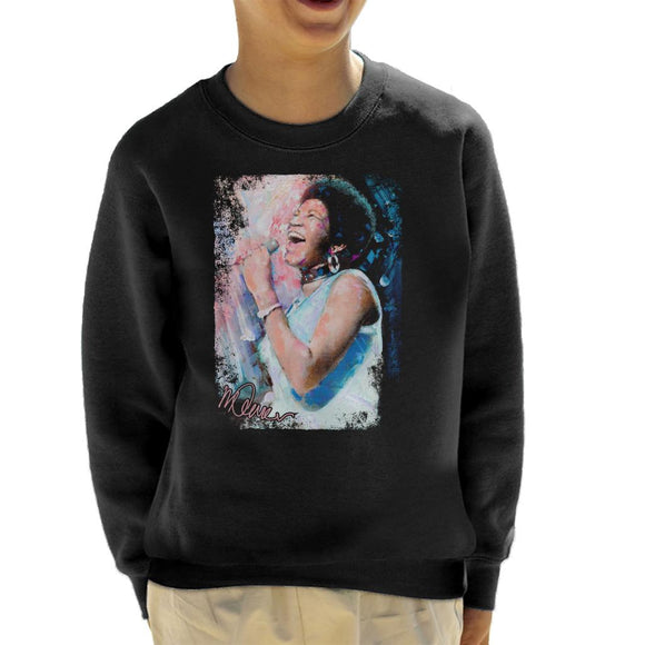 Sidney Maurer Original Portrait Of Aretha Franklin Singing Kid's Sweatshirt
