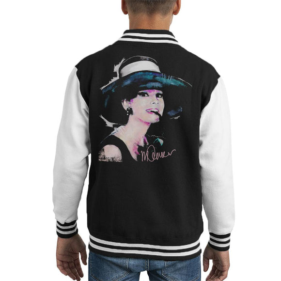 Sidney Maurer Original Portrait Of Audrey Hepburn Large Hat Kid's Varsity Jacket