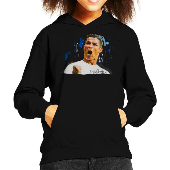Sidney Maurer Original Portrait Of Cristiano Ronaldo Cheering Kid's Hooded Sweatshirt