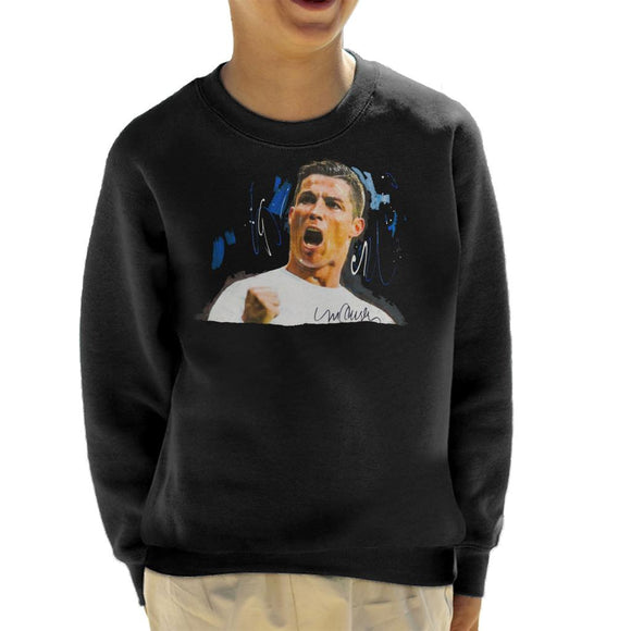 Sidney Maurer Original Portrait Of Cristiano Ronaldo Cheering Kid's Sweatshirt