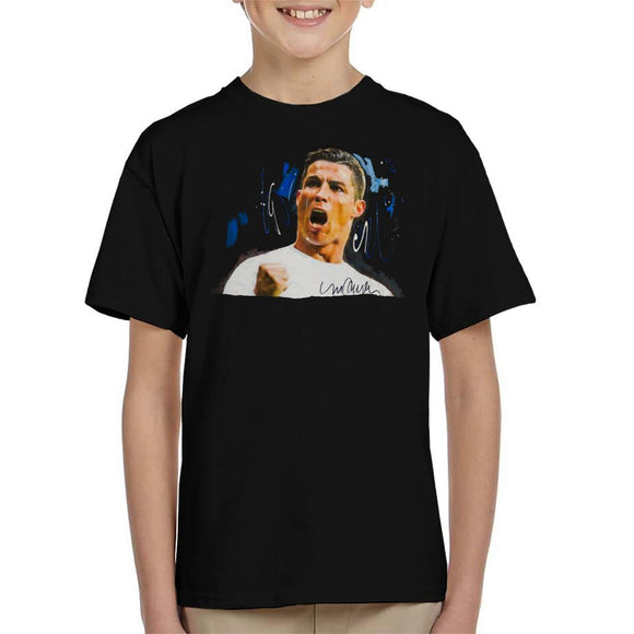 Sidney Maurer Original Portrait Of Cristiano Ronaldo Cheering Kid's T-Shirt