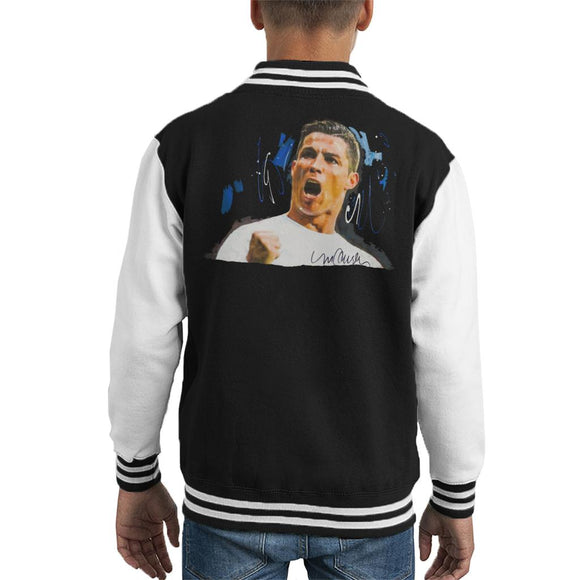 Sidney Maurer Original Portrait Of Cristiano Ronaldo Cheering Kid's Varsity Jacket