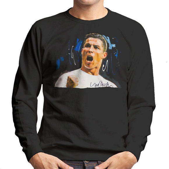 Sidney Maurer Original Portrait Of Cristiano Ronaldo Cheering Men's Sweatshirt