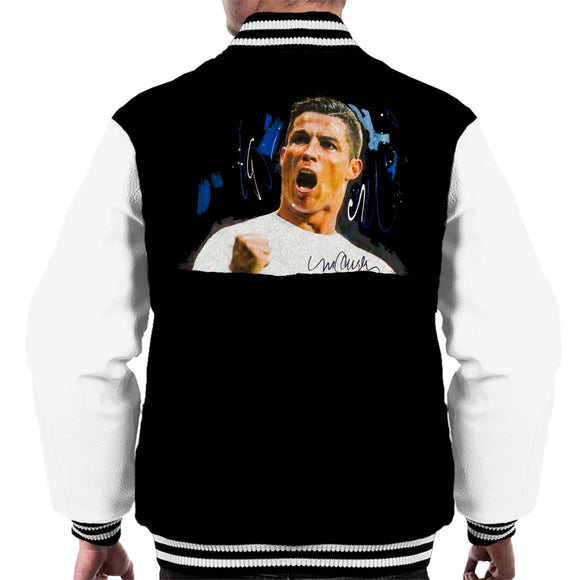 Sidney Maurer Original Portrait Of Cristiano Ronaldo Cheering Men's Varsity Jacket