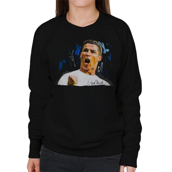 Sidney Maurer Original Portrait Of Cristiano Ronaldo Cheering Women's Sweatshirt