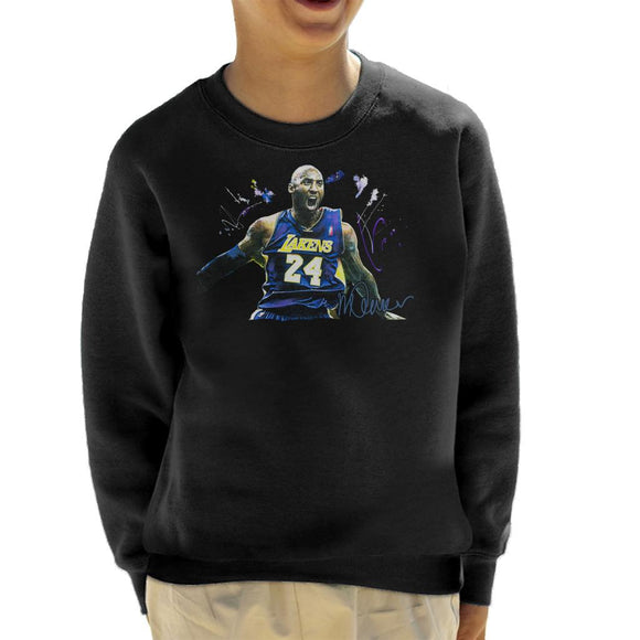Sidney Maurer Original Portrait Of Kobe Bryant Lakers Jersey Kid's Sweatshirt
