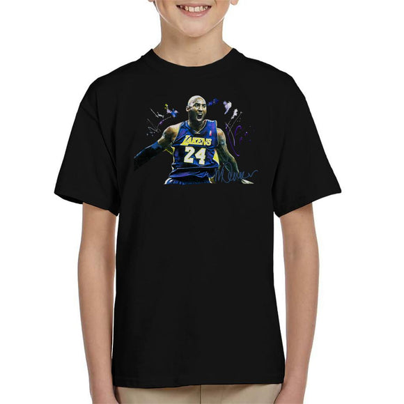 Sidney Maurer Original Portrait Of Kobe Bryant Lakers Jersey Kid's T-Shirt