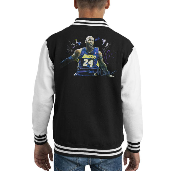 Sidney Maurer Original Portrait Of Kobe Bryant Lakers Jersey Kid's Varsity Jacket