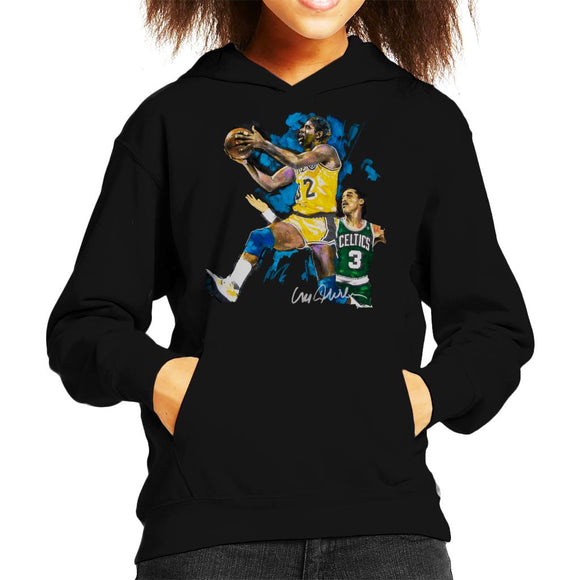 Sidney Maurer Original Portrait Of Magic Johnson Lakers Vs Celtics Kid's Hooded Sweatshirt