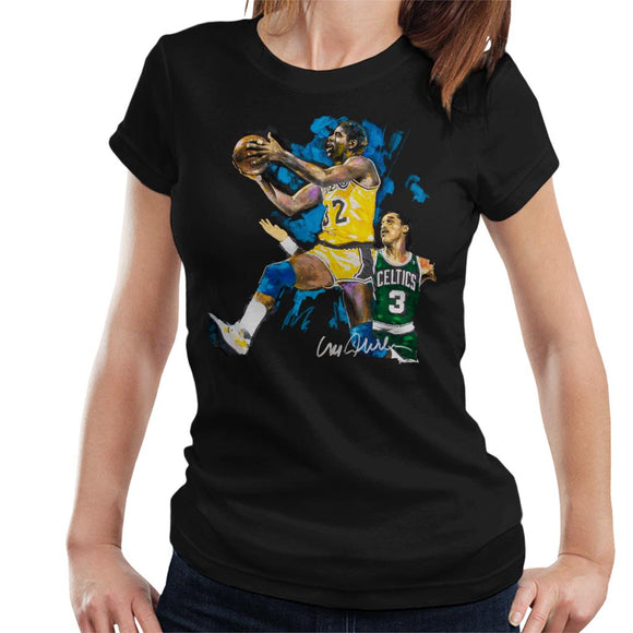 Sidney Maurer Original Portrait Of Magic Johnson Lakers Vs Celtics Women's T-Shirt