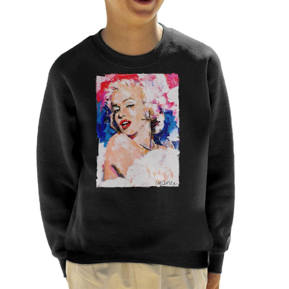 Sidney Maurer Original Portrait Of Marilyn Monroe Pearl Necklace Kid's Sweatshirt