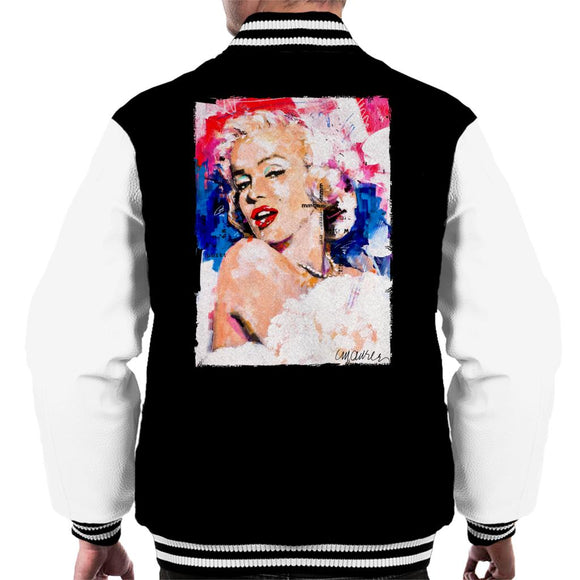 Sidney Maurer Original Portrait Of Marilyn Monroe Pearl Necklace Men's Varsity Jacket