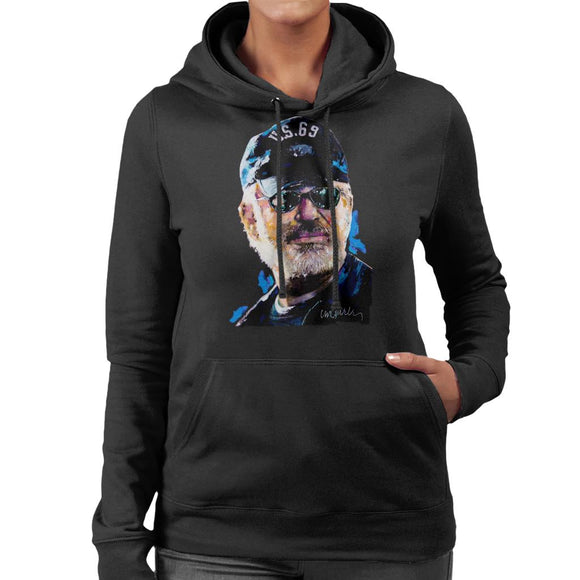 Sidney Maurer Original Portrait Of Steven Spielberg Baseball Cap Glasses Women's Hooded Sweatshirt