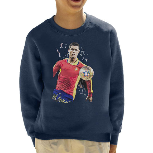 Sidney Maurer Original Portrait Of Portugal Striker Cristiano Ronaldo Kid's Sweatshirt