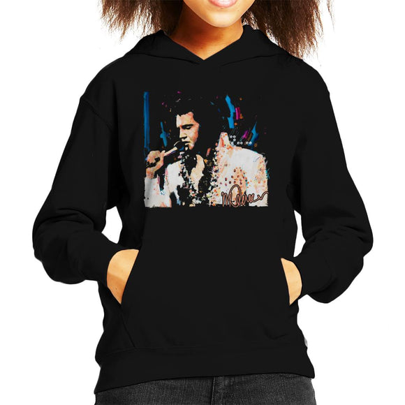 Sidney Maurer Original Portrait Of Singer Elvis Presley Kid's Hooded Sweatshirt