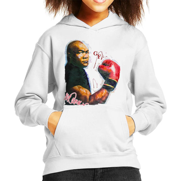 Sidney Maurer Original Portrait Of Boxer George Foreman Kid's Hooded Sweatshirt