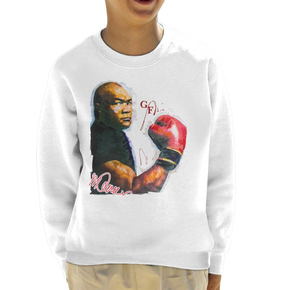Sidney Maurer Original Portrait Of Boxer George Foreman Kid's Sweatshirt