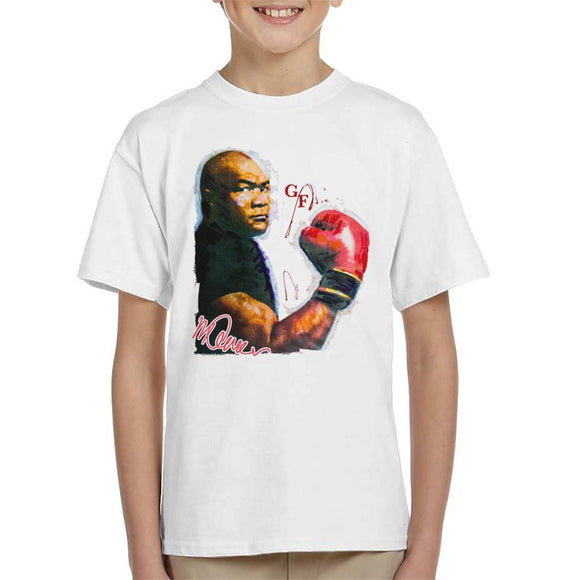 Sidney Maurer Original Portrait Of Boxer George Foreman Kid's T-Shirt