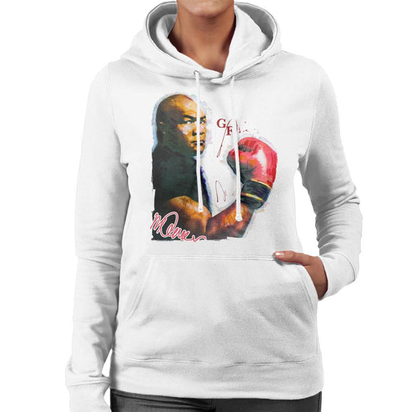 Sidney Maurer Original Portrait Of Boxer George Foreman Women's Hooded Sweatshirt