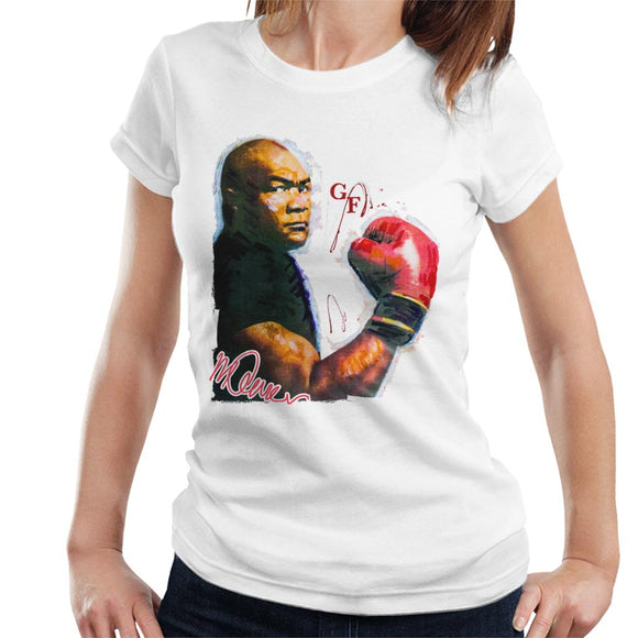 Sidney Maurer Original Portrait Of Boxer George Foreman Women's T-Shirt