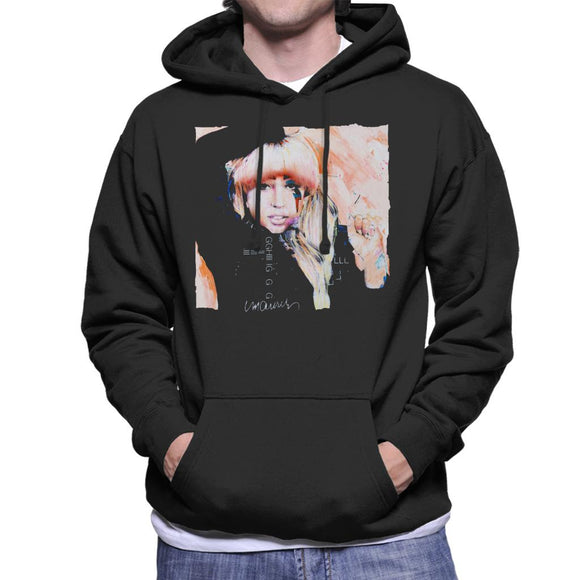 Sidney Maurer Original Portrait Of Singer Lady Gaga Men's Hooded Sweatshirt