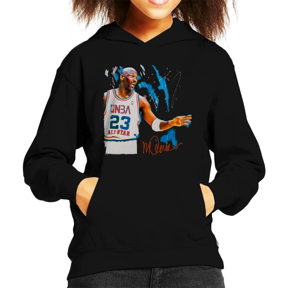 Sidney Maurer Original Portrait Of NBA All Star Michael Jordan Kid's Hooded Sweatshirt