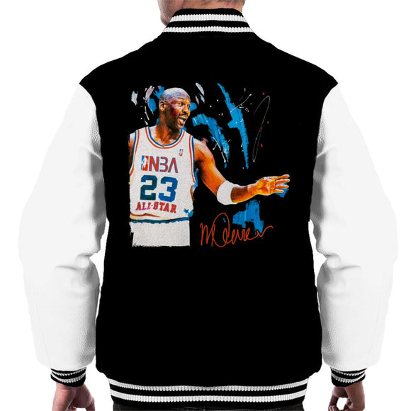 Sidney Maurer Original Portrait Of NBA All Star Michael Jordan Men's Varsity Jacket