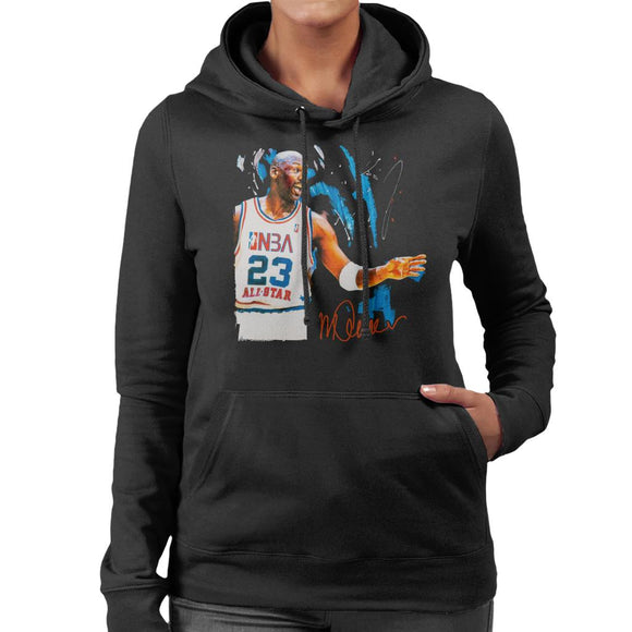 Sidney Maurer Original Portrait Of NBA All Star Michael Jordan Women's Hooded Sweatshirt
