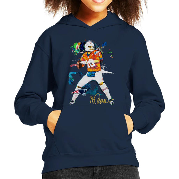 Sidney Maurer Original Portrait Of Patriots Star Tom Brady Kid's Hooded Sweatshirt