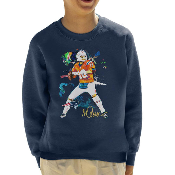 Sidney Maurer Original Portrait Of Patriots Star Tom Brady Kid's Sweatshirt