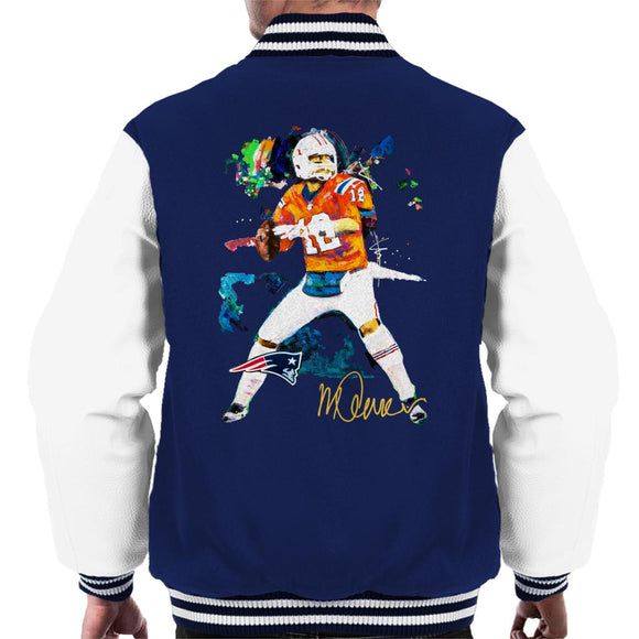 Sidney Maurer Original Portrait Of Patriots Star Tom Brady Men's Varsity Jacket