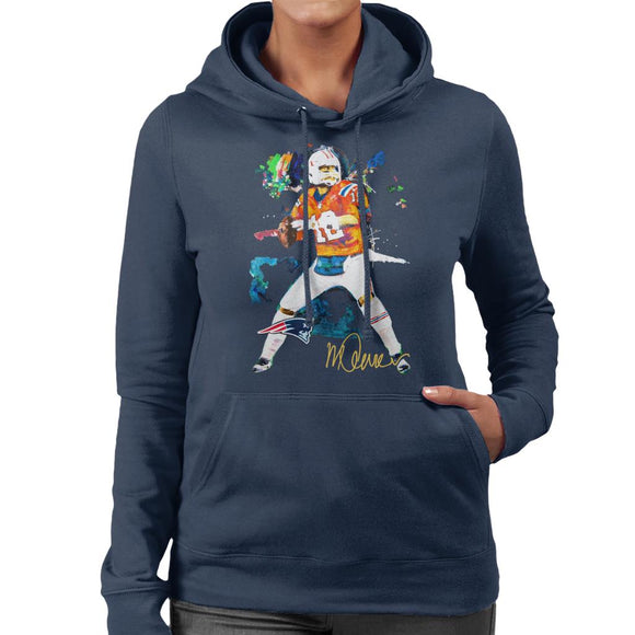Sidney Maurer Original Portrait Of Patriots Star Tom Brady Women's Hooded Sweatshirt