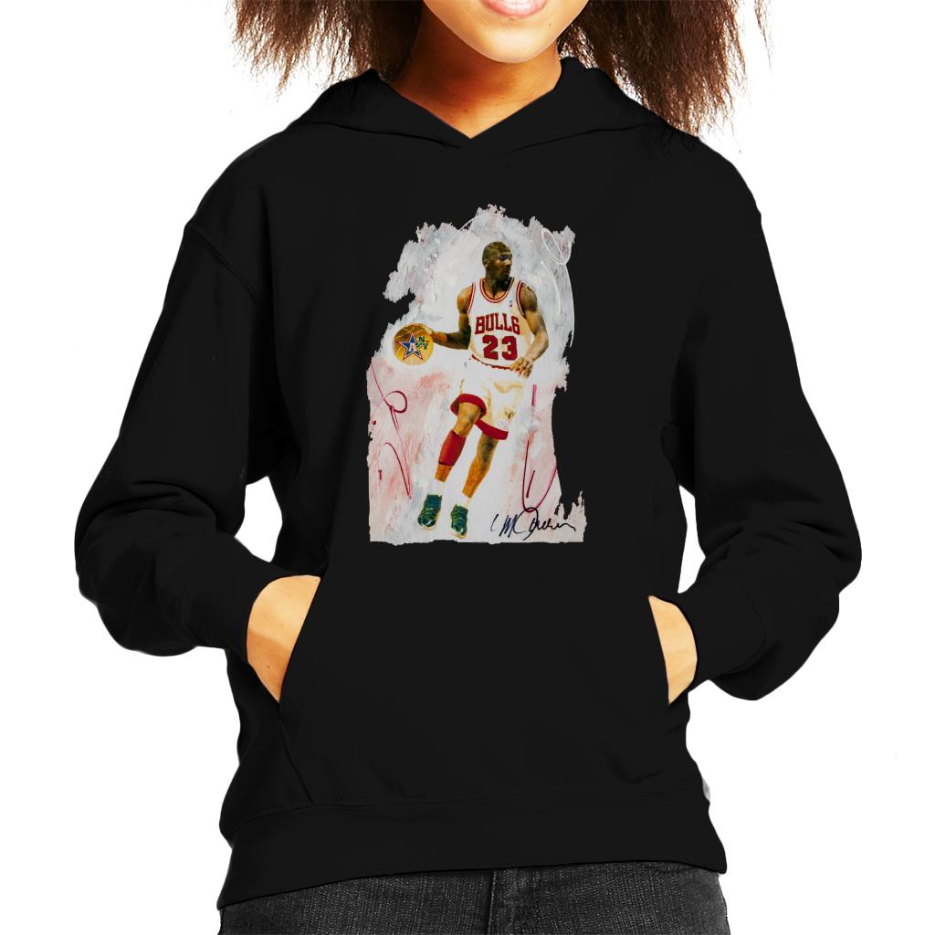 c06548b87ee3 ... Sidney Maurer Original Portrait Of Basketball Star Michael Jordan Kid s Hooded  Sweatshirt ...