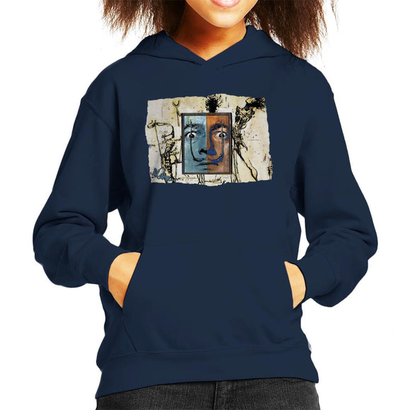 Sidney Maurer Original Portrait Of Surrealist Salvador Dali Kid's Hooded Sweatshirt