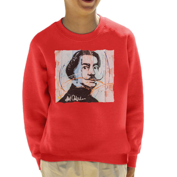 Sidney Maurer Original Portrait Of Spanish Artist Salvador Dali Kid's Sweatshirt