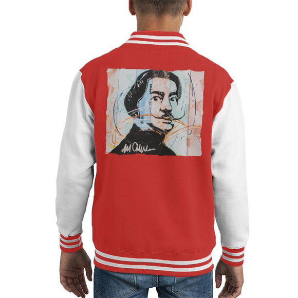 Sidney Maurer Original Portrait Of Spanish Artist Salvador Dali Kid's Varsity Jacket
