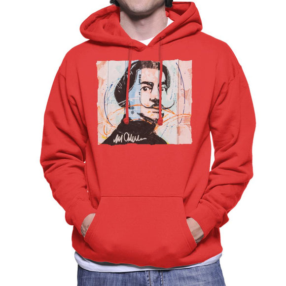 Sidney Maurer Original Portrait Of Spanish Artist Salvador Dali Men's Hooded Sweatshirt