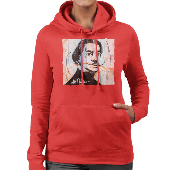 Sidney Maurer Original Portrait Of Spanish Artist Salvador Dali Women's Hooded Sweatshirt