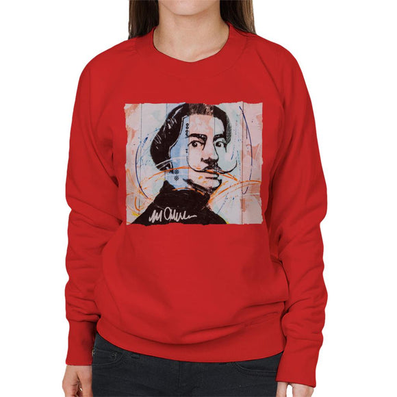 Sidney Maurer Original Portrait Of Spanish Artist Salvador Dali Women's Sweatshirt