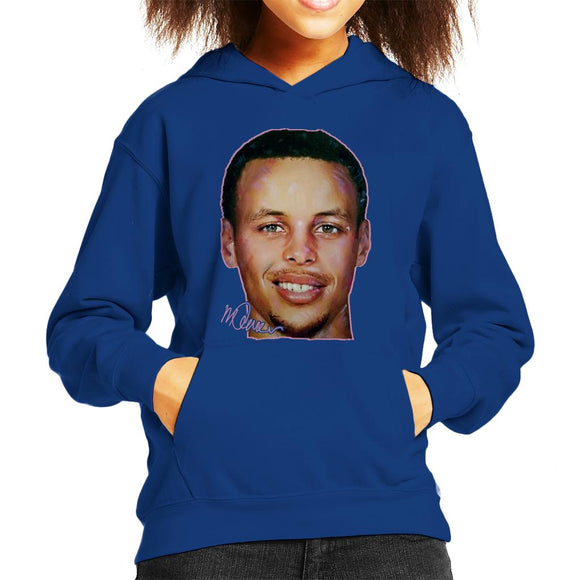 Sidney Maurer Original Portrait Of Stephen Curry Kid's Hooded Sweatshirt