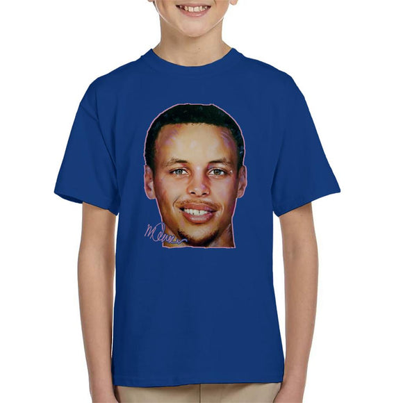 Sidney Maurer Original Portrait Of Stephen Curry Kid's T-Shirt