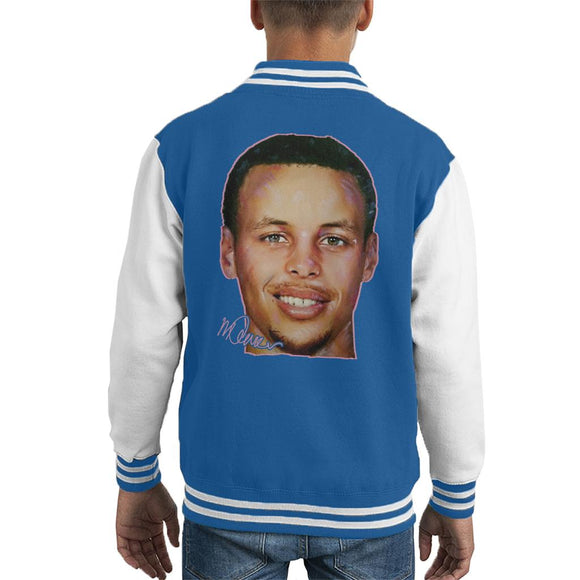 Sidney Maurer Original Portrait Of Stephen Curry Kid's Varsity Jacket