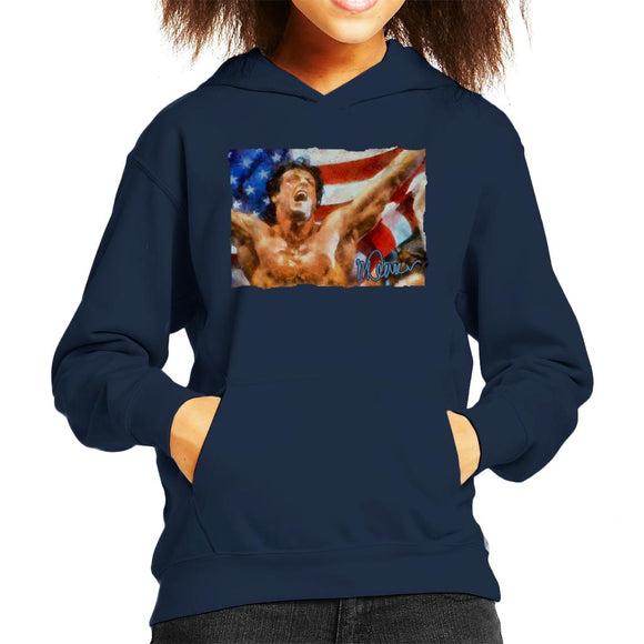 Sidney Maurer Original Portrait Of Sylvester Stallone As Rocky Kid's Hooded Sweatshirt