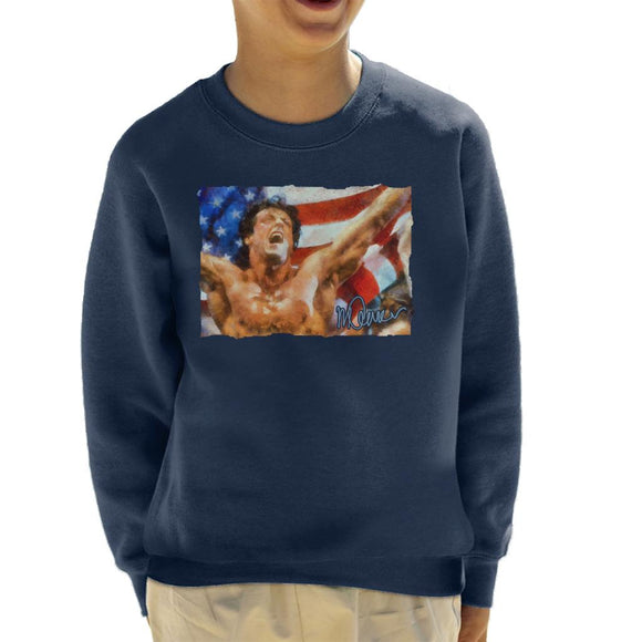 Sidney Maurer Original Portrait Of Sylvester Stallone As Rocky Kid's Sweatshirt