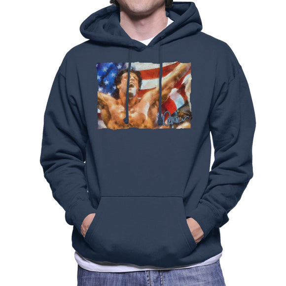 Sidney Maurer Original Portrait Of Sylvester Stallone As Rocky Men's Hooded Sweatshirt