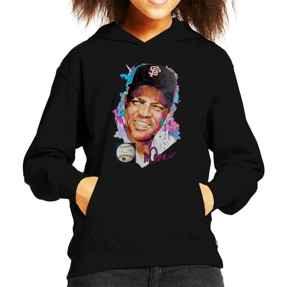 Sidney Maurer Original Portrait Of Willie Mays Kid's Hooded Sweatshirt
